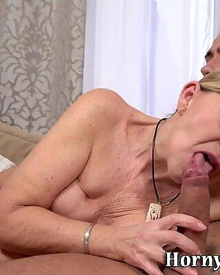 Grandmother gets a facial