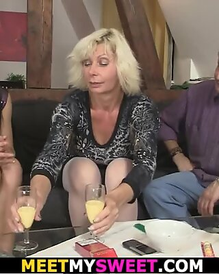 69 with his elderly mommy and riding father's cock