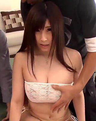 Mizuki Akai gets two males to smash her pussy and ass  - More at Pissjp.com