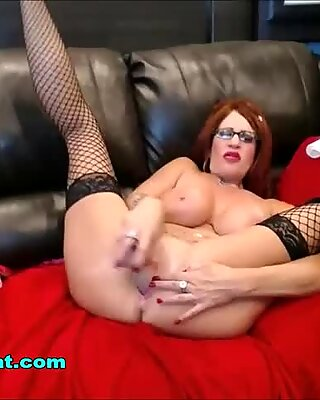 Squirting Fountain of Cum Redhead MILF with Big Tits and Ass