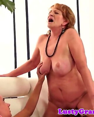Bigbooty grandma tastes cum after sucking