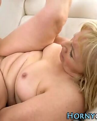 Ass fingered granny jizzy