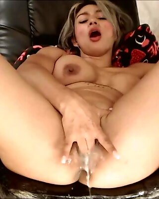 First Cums Sticky White Cream then Squirting Huge and Massive