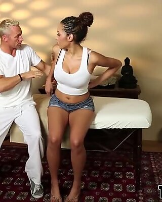 Massaged ebony babe bangs
