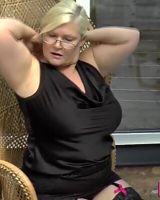Showering British grandmother sucks cock